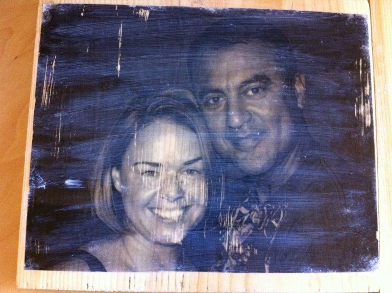 transferring photos onto wood.