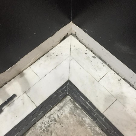 The beginning of our guest bath floor! doubletreehouse tile marblehellip