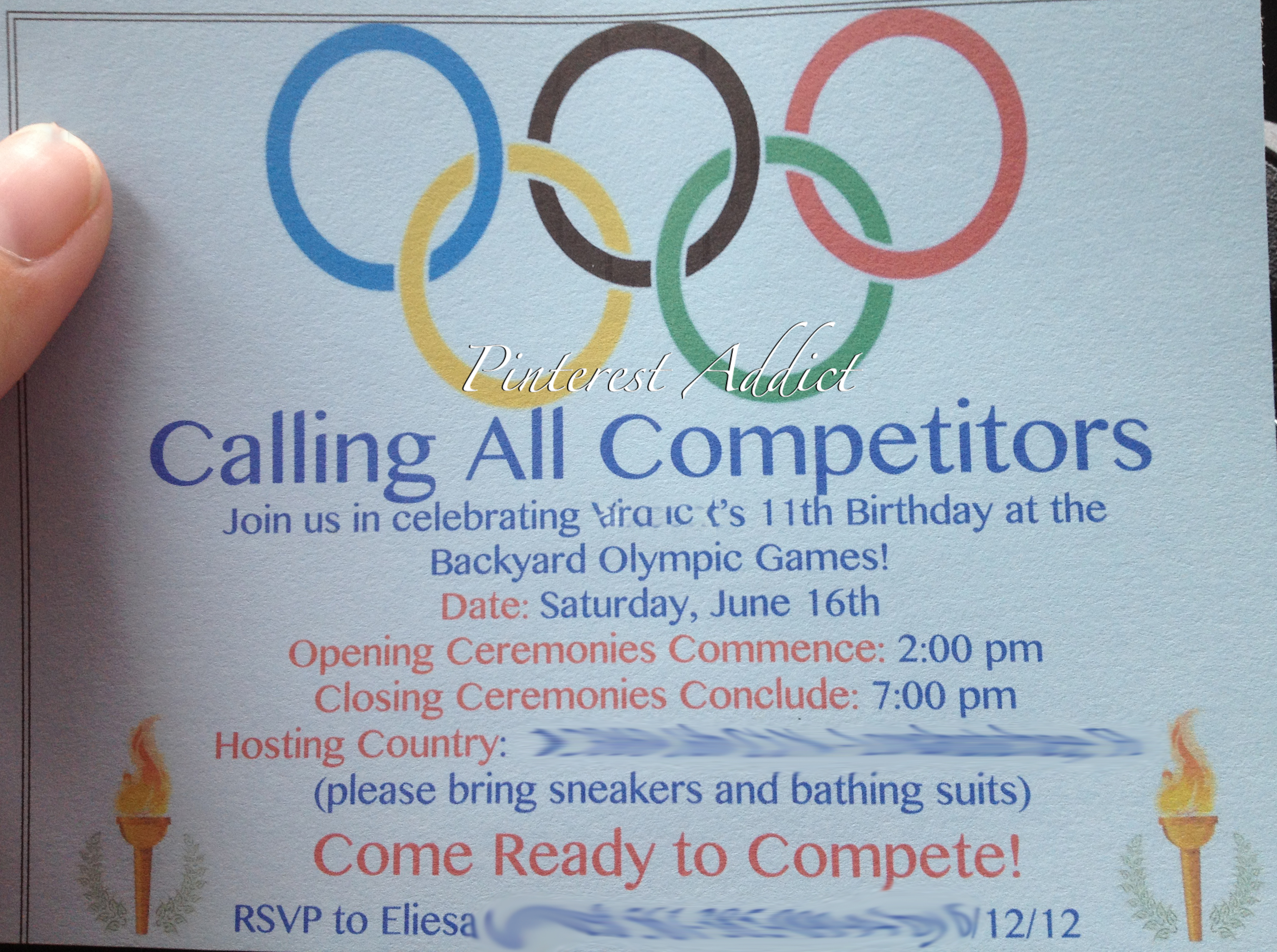 olympic party invitation template