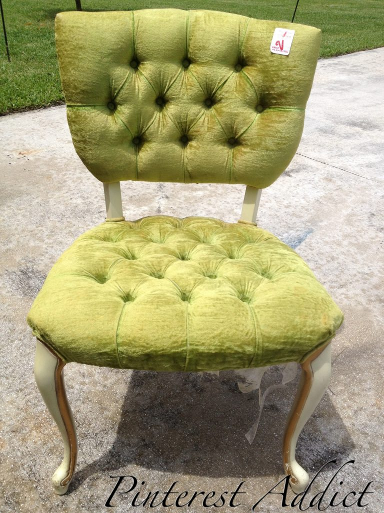 Green Tufted Chair Before I Tried To Dye Her   This Turned Out To Be A