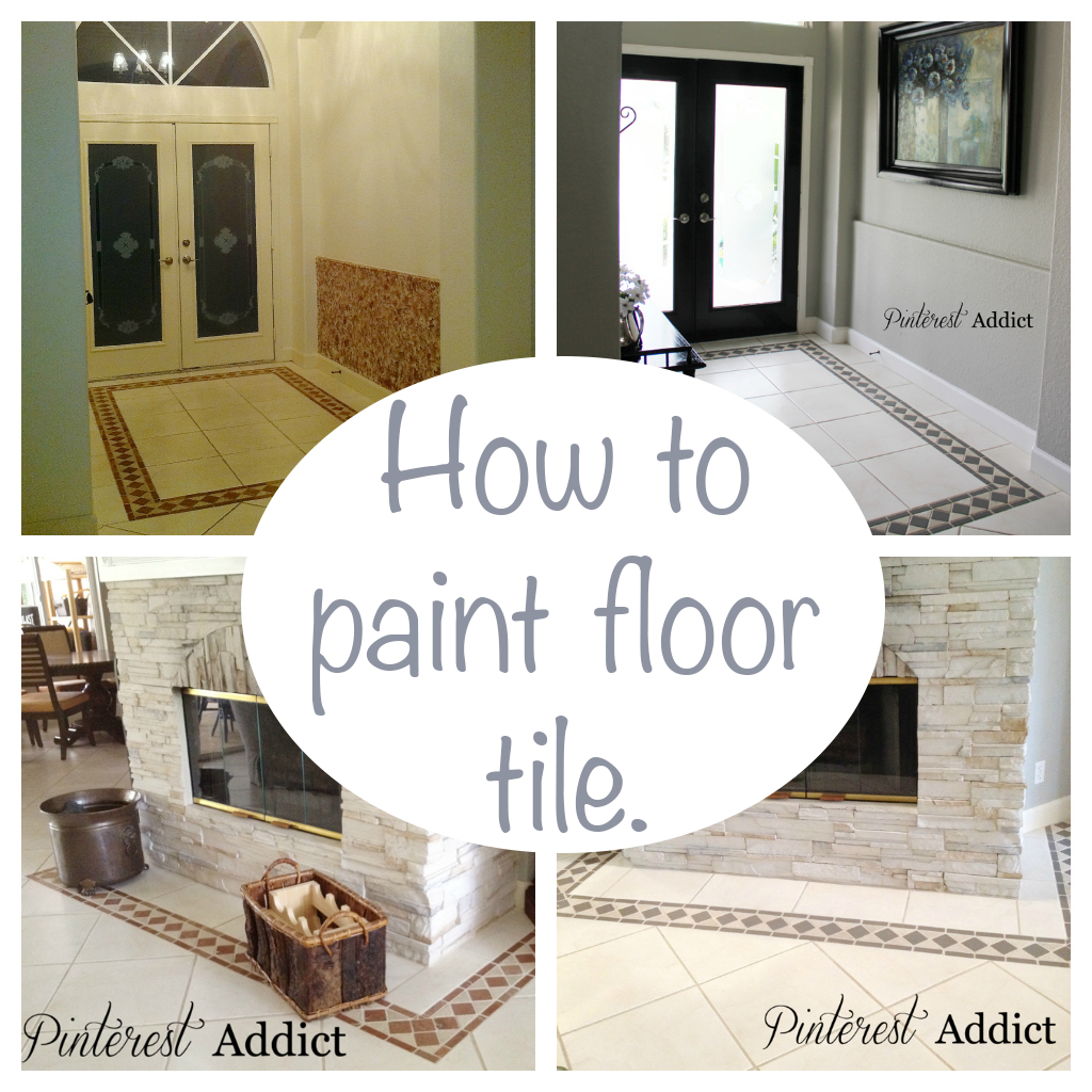 Painting floor tile pinterest addict for Can you paint over vinyl flooring
