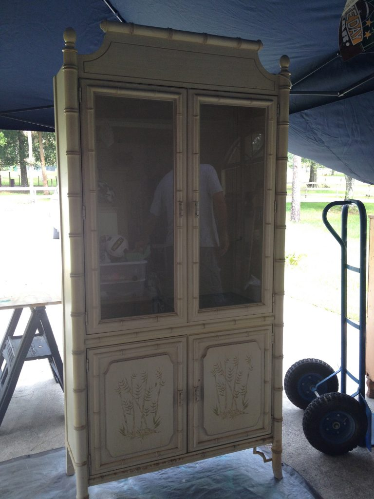 Faux Bamboo China Cabinet Makeover