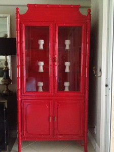 Faux Bamboo China Cabinet in Sunrise Red