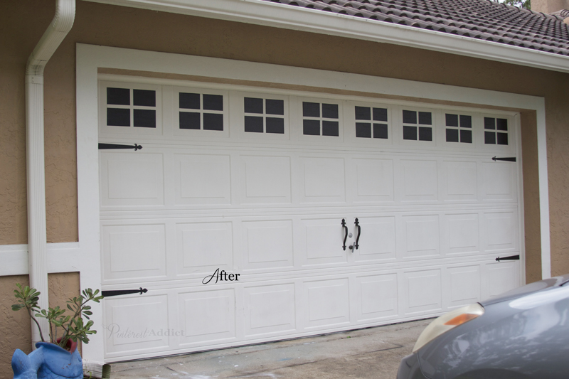 Creating a faux carriage garage door pinterest addict for How to paint faux wood garage doors
