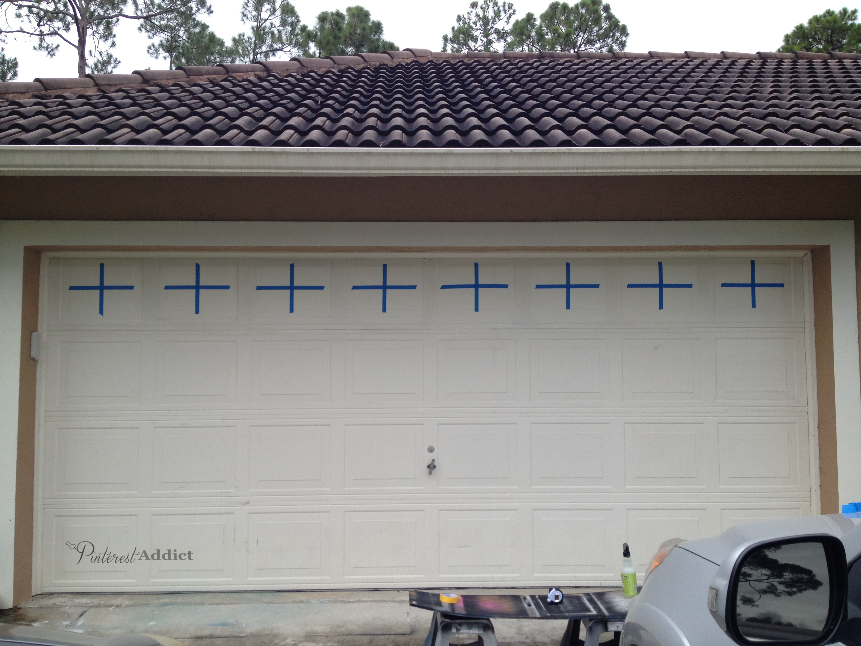 Garage tape off for Faux carriage garage door