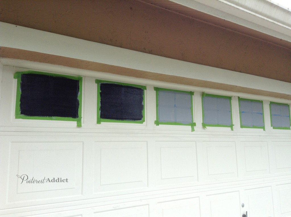 Creating a faux carriage garage door pinterest addict for Faux painted garage doors