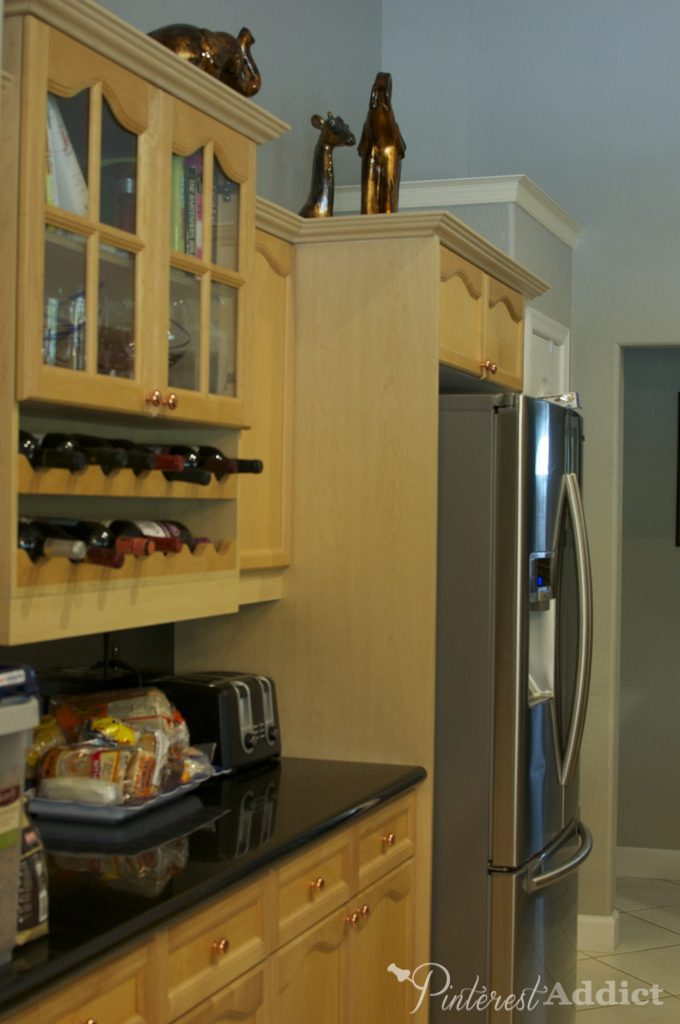 kitchen before - fridge side - Ikea Kitchen reveal