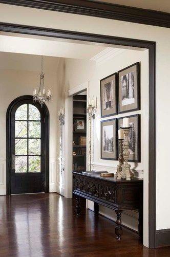 Dark Floors White Walls Black Door