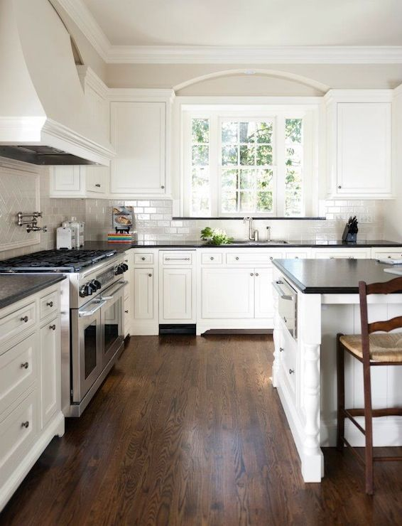 Dark floors white walls pinterest addict - White kitchen dark counters ...