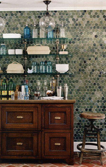 green hexagon tile for the Bathroom update and floor progress