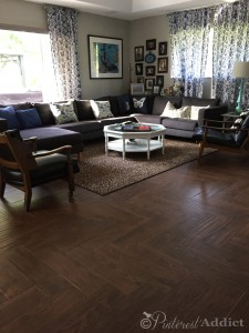 family room herringbone wood look tile