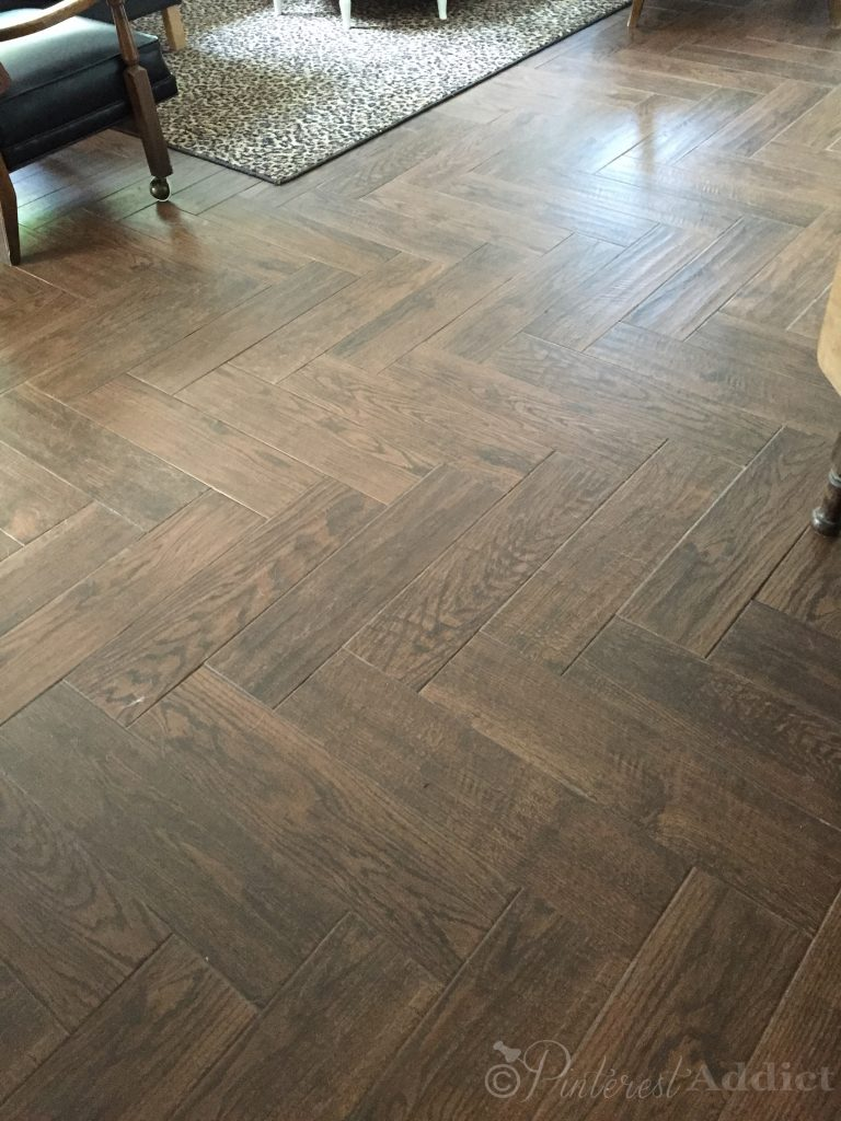 Herringbone Pattern Wood Look Tile