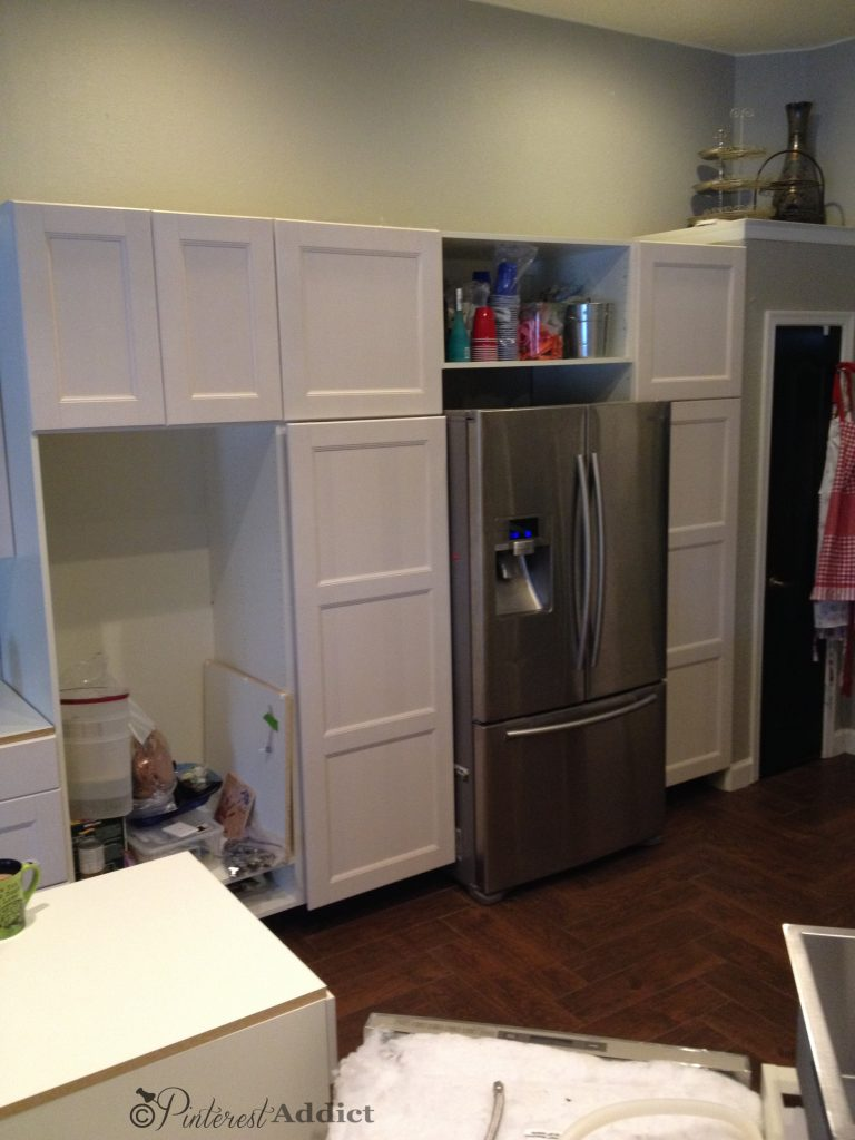 Cabinets - pink - on the opposite side.