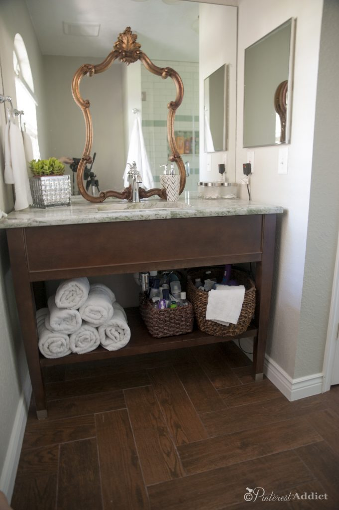 Guest bathroom makeover - Vanity - a Habitat Restore find