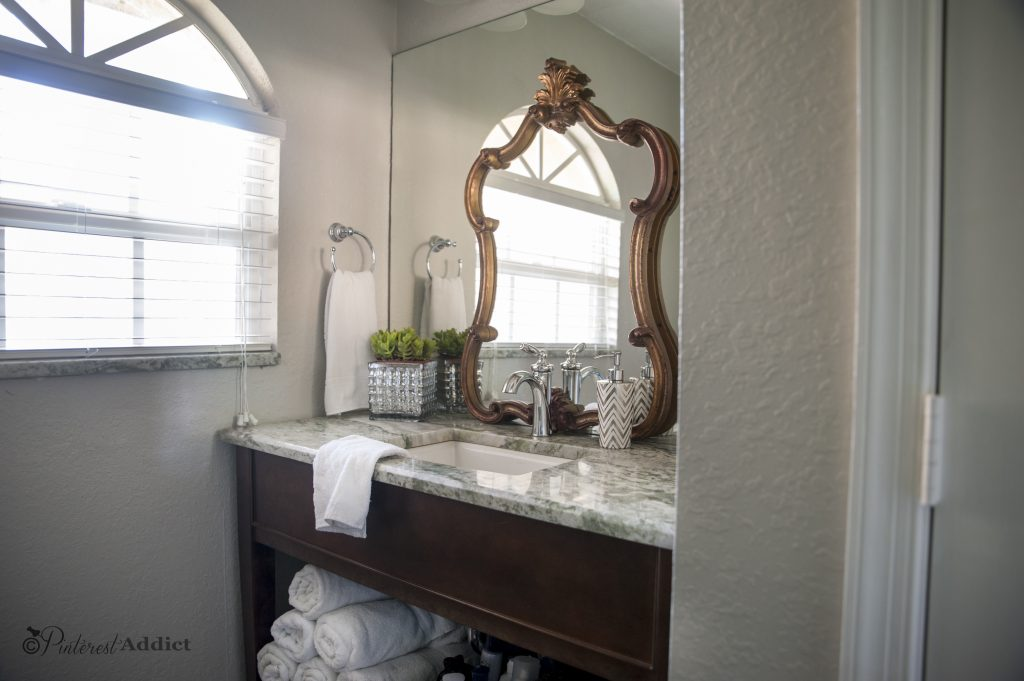 Guest Bathroom makeover - Moen Faucet, onyx counter top, Kohler sink