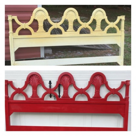 Before and after of a great vintage headboard I foundhellip