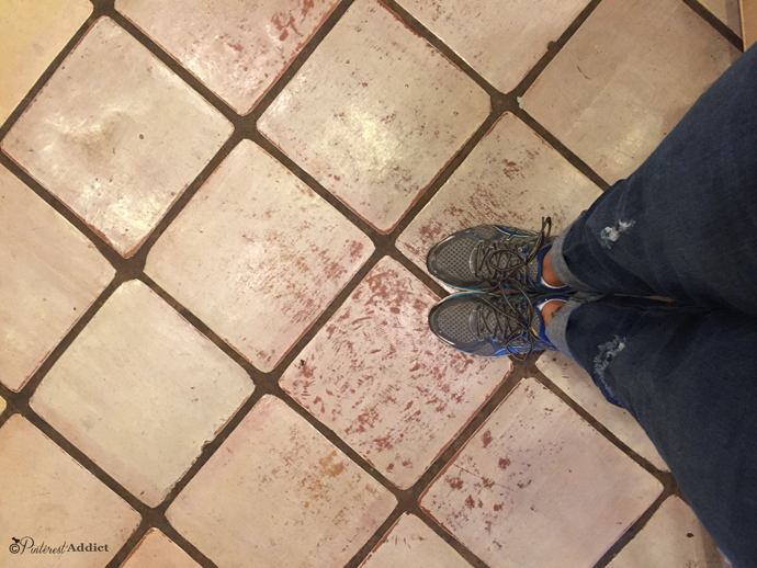 saltillo mexican floor tile painted and chipping