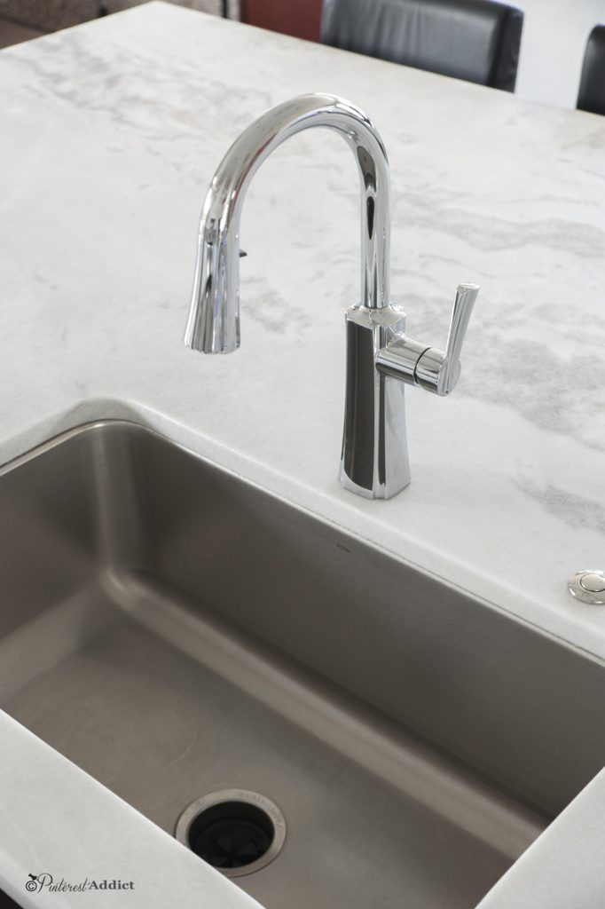 Moen Etch Faucet - Calcita Quartzite counters - Our Pinterest Inspired Kitchen