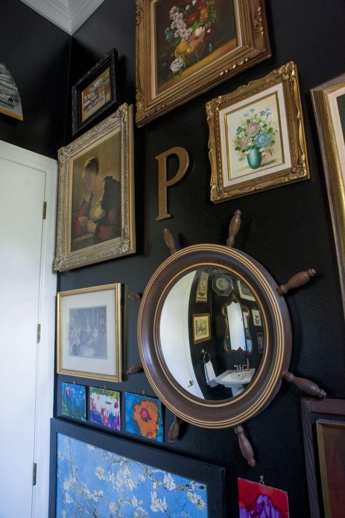 Convex mirror - Alcohol Ink Artwork - Black bathroom