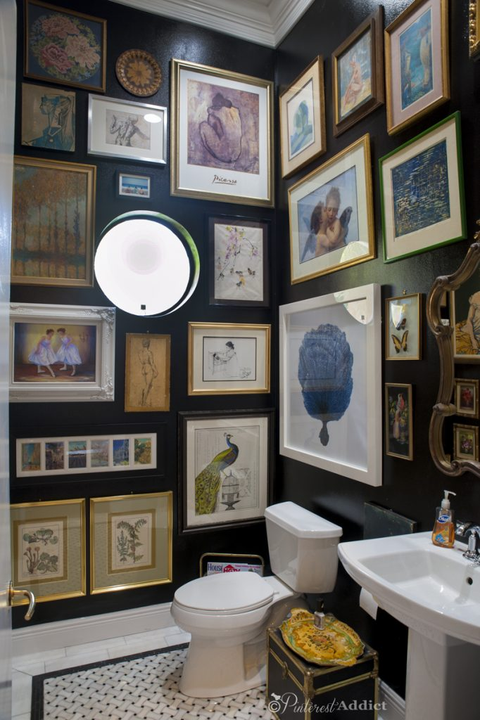 bathroom artwork. Guest Bathroom After  black walls marble floors and an artwork gallery Art Gallery From Boring to Beautiful Pinterest Addict