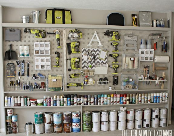 Source: The Creativity Exchange - DIY Garage Pegboard storage wall