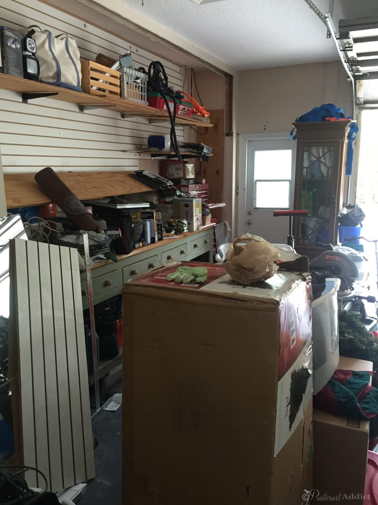 View from inside garage door, looking out, left side - BHG organization