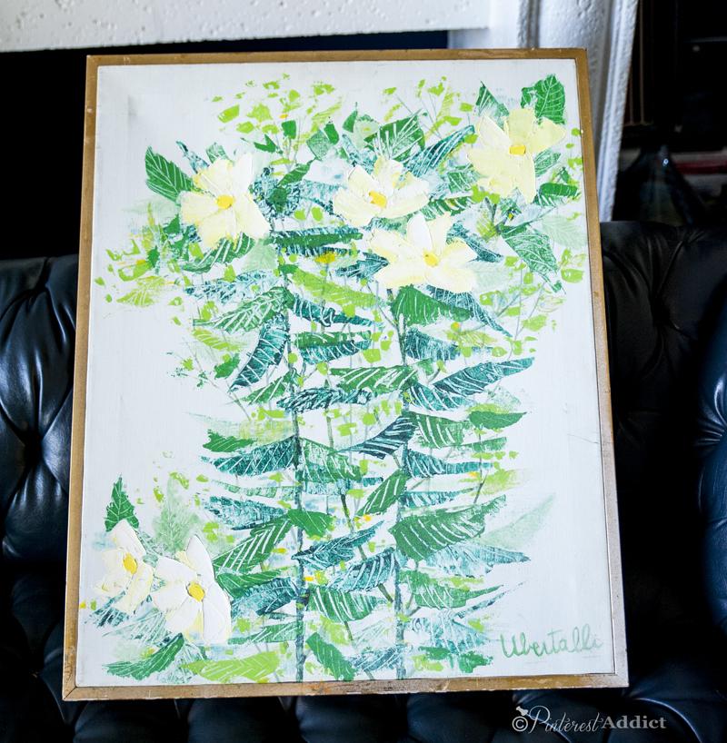 "Ubertelli - ""Flowers"" original oil painting - thrift store art finds"