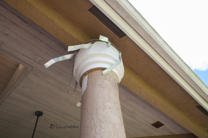 How do you get woodpeckers to stop pecking at your house? Woodpecker/bird repellent tape!