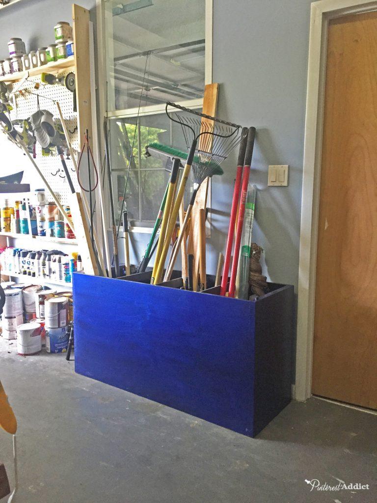 Filing cabinet used as garage storage