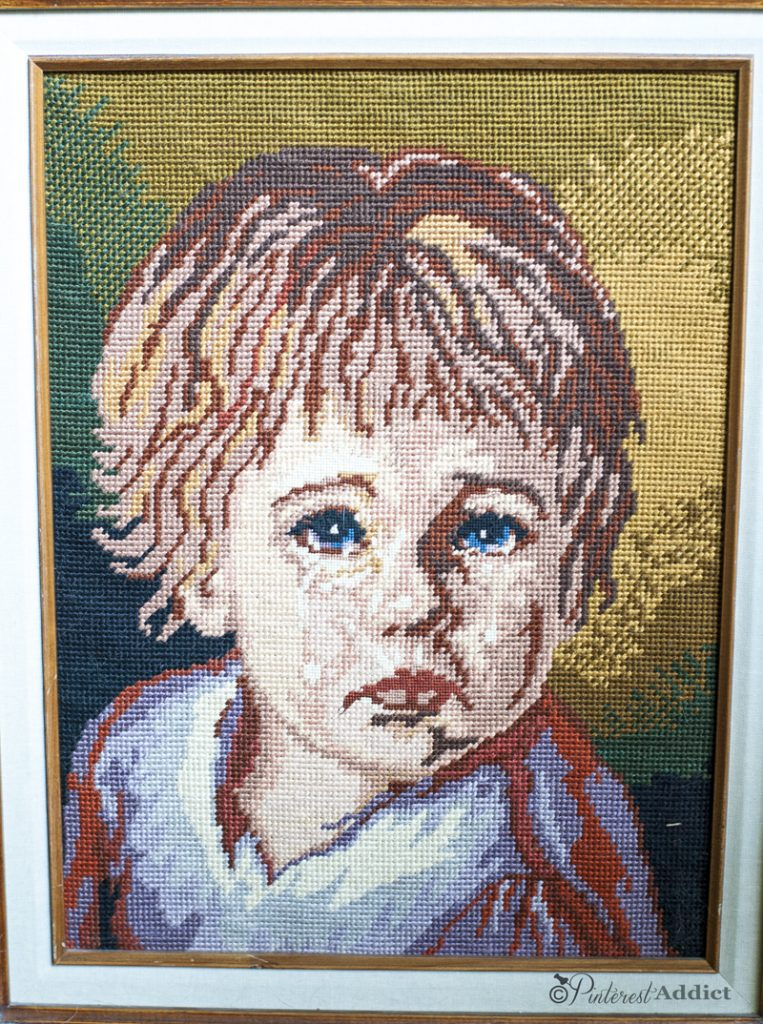 Crying child needlepoint - thrift store art finds