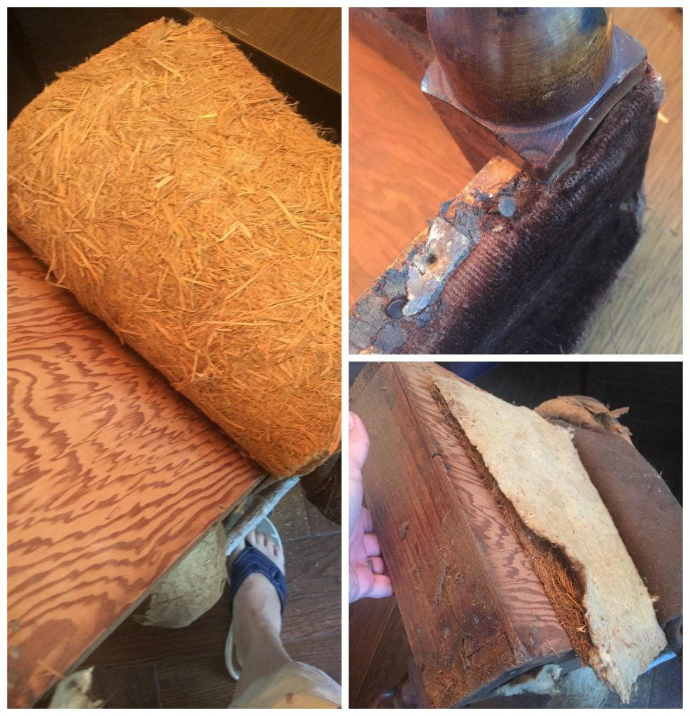 1st step to reupholstering is to remove all the old materials