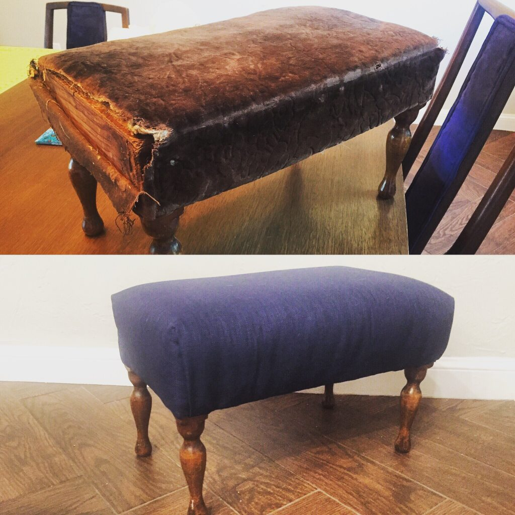 Before and After of the footstool - what an improvement! - How to reupholster a footstool
