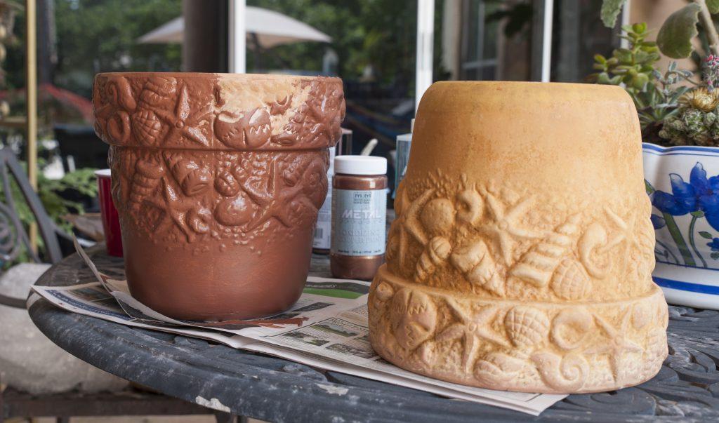 Modern Masters copper patina first step primer - Copper Patina Flower Pots