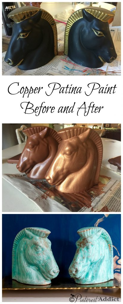 So easy to add a beautiful copper patina to any piece using Modern Masters Copper Patina paint makeover - before and after