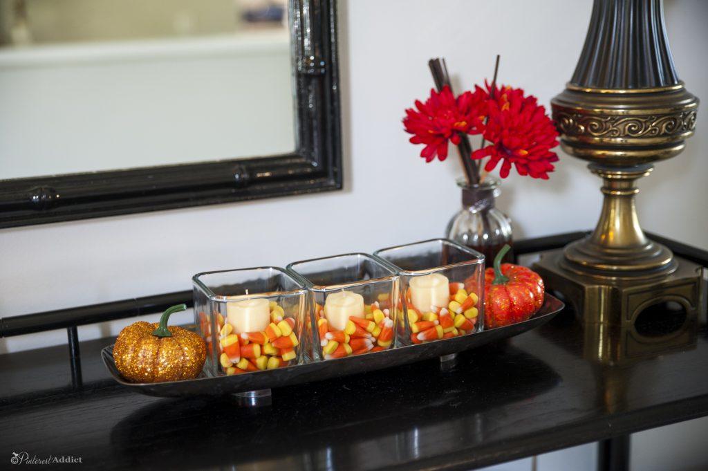 candy corn tea lights and plastic pumpkins... cute!
