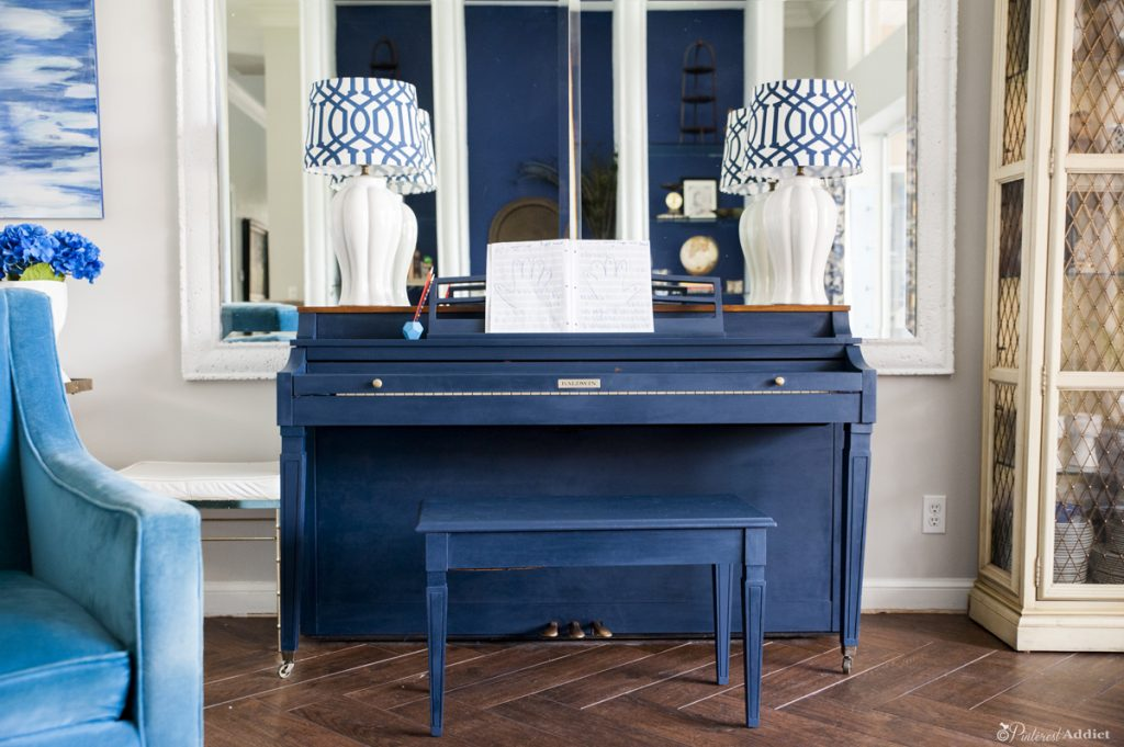 Painted piano - navy blue chalk paint