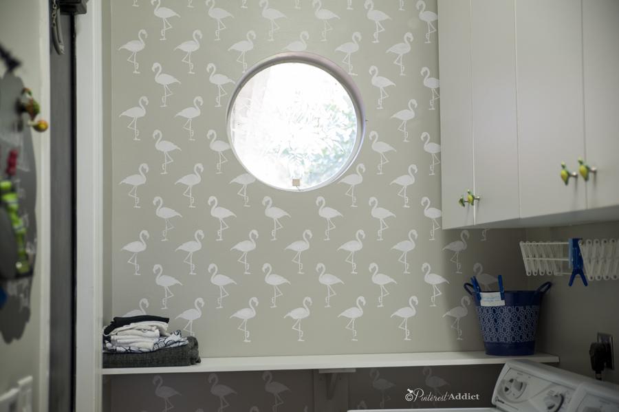 Flamingo Deco Wall Stencil - Royal Designs Studio