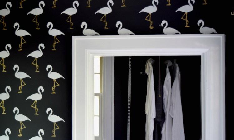 flamingo stencil - $100 room challenge