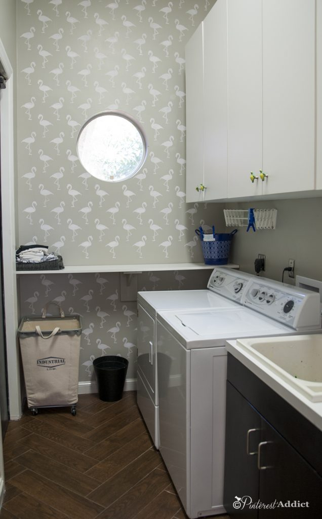 Flamingo Deco Wall Stencil - Royal Designs Studio - laundry room makeover