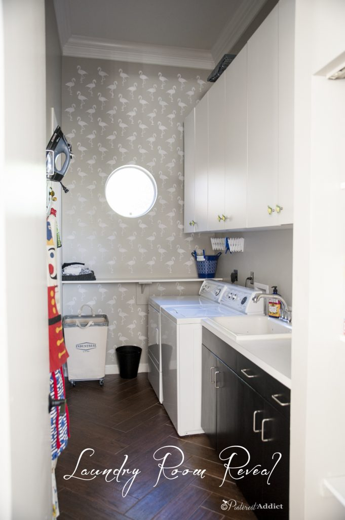 $100 Room Challenge Laundry Room makeover Reveal - Flamingo stencil Royal design studios