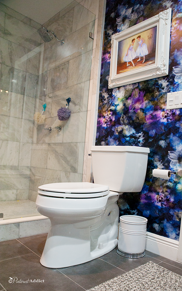SmithHonig Bryony Strom Noir flower wallpaper, marble walk in shower