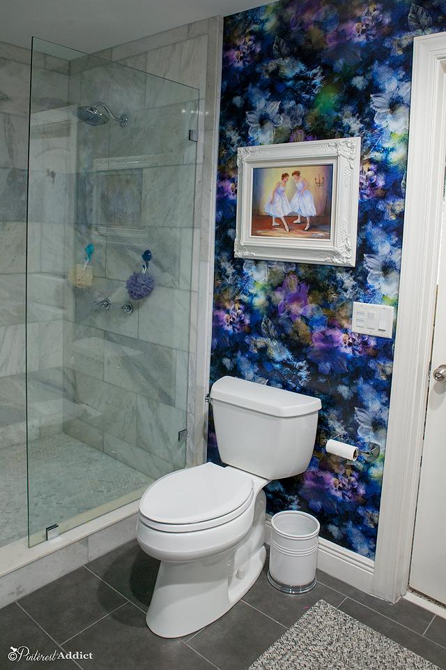 Marble walk in shower, flower wallpaper SmithHonïg, moen voss