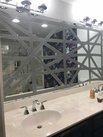 removing Mirror with duct tape - primp and pamper bathroom refresh