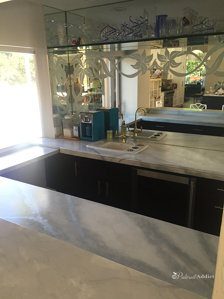 Finished faux marble counters in bar area